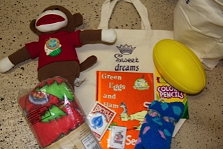 What the kids received in their Sweet Dreams bag.
