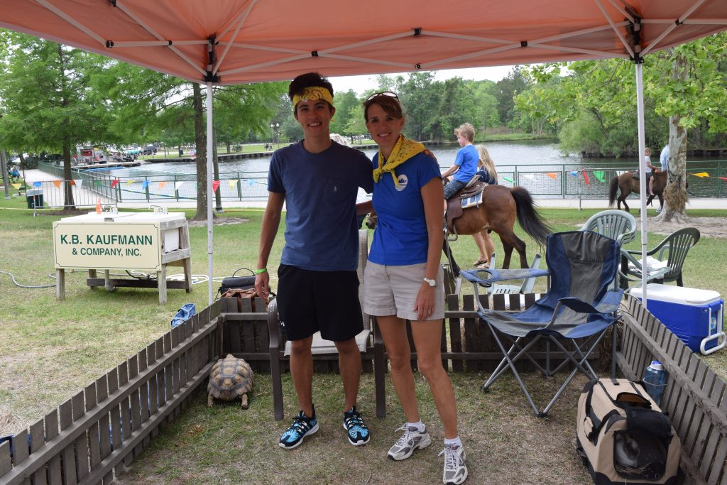 Hilary and son Eric working in the Tortoise and the Hare exhibit at Kid's Fest 2017.