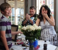 Stephanie Hoppmeyer is extremely touched by the surprise visit!!